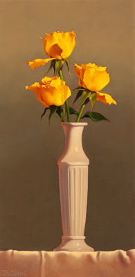 LORAN SPECK (American, b. 1943) Vase of Flowers Egg tempera on board 12 x 5-3/4 inches (30.5 x 1