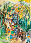 Works on Paper, RENATE DOLLINGER (American, 20th Century). The Travelers . Watercolor and gouache on paper . 22-1/2 x 17 inches (57.2 x ...