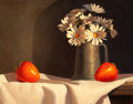 Fine Art - Painting, American:Contemporary   (1950 to present)  , LORAN SPECK (American, b. 1943). Two Tomatoes and a Vase ofDaisies. Egg tempera on board . 9-1/2 x 12-1/2 inches (24.1 ...
