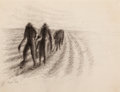 Fine Art - Work on Paper:Drawing, JOHN BIGGERS (American, 1924-2001). Untitled (Men in theField), 1964. Charcoal on paper . 10-1/4 x 13 inches (26.0 x33...