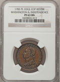 Colonials, 1783 1C Washington & Independence Cent, Draped Bust, No Button,Copper Restrike, Plain Edge PR63 Brown NGC. Baker-3C, W-10310...