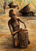 Fine Art - Painting, American:Contemporary   (1950 to present)  , JOHN BIGGERS (American, 1924-2001). A Boy with a Drum, 1987. Oil on masonite . 27-1/4 x 19-1/4 inches (69.2 x 48.9 cm)...