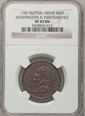 Colonials, 1783 1C Washington & Independence Cent, Draped Bust, ButtonXF45 NGC. Baker-5, Vlack 20-P, W-10410, High R.6....