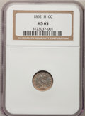 Seated Half Dimes, 1852 H10C MS65 NGC....