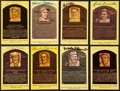 Autographs:Post Cards, Baseball Signed Hall Of Fame Plaques Lot Of 8....
