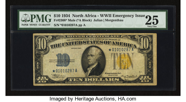 Fr. 2308* $10 1934 North Africa Silver Certificate. PMG Very   Lot ...