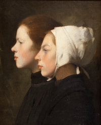 CONTINENTAL SCHOOL (19th Century) Portrait of Two Girls Oil on canvas 22 x 18-1/2 inches (55.9 x