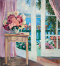 American:Modern, ALLAYN STEVENS (American, 20th Century). Flower-filled Room witha View. Oil on canvas. 40 x 36 inches (101.6 x 91.4 cm)...