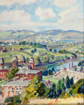 Fine Art - Painting, American:Modern  (1900 1949)  , GEORGE GARDNER (SIMON) SYMONS (American, 1863-1930). Town Alongthe River. Oil on canvas board. 9-3/4 x 7-3/4 inches (24...