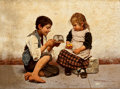 Fine Art - Painting, European:Antique  (Pre 1900), GIULIO DEL TORRE (Italian, 1856-1932). The New Pet, 1899.Oil on panel. 7 x 9-1/2 inches (17.8 x 24.1 cm). Signed and da...