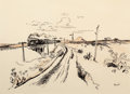 Western, THOMAS HART BENTON (American, 1889-1975). Train Out West,circa 1951. Ink, sepia wash, and pencil on buff paper. 8-7/8 x...