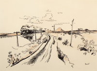 THOMAS HART BENTON (American, 1889-1975) Train Out West, circa 1951 Ink, sepia wash, and pencil on b