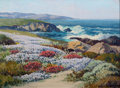 Fine Art - Painting, American:Modern  (1900 1949)  , CARL SAMMONS (American, 1883-1968). Wildflowers, CarmelCoast. Oil on canvasboard. 12 x 16 inches (30.5 x 40.6 cm).Sign...