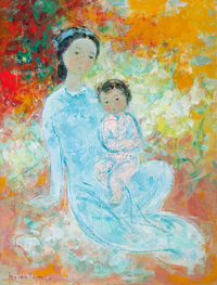 VU CAO DAM (Vietnamese, 1908-2000) Mother and Child Oil on canvas 13 x 10 inches (33.0 x 25.4 cm