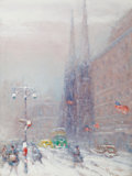 JOHANN BERTHELSEN (Danish/American, 1883-1972) View of St. Patrick's Cathedral, Fifth Avenue Oil on