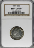 Proof Seated Quarters, 1887 25C PR64 Cameo NGC....