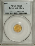Commemorative Gold: , 1904 G$1 Lewis and Clark MS63 PCGS. PCGS Population (365/959). NGCCensus: (162/645). Mintage: 10,025. Numismedia Wsl. Pric...