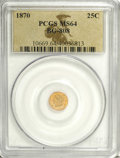 California Fractional Gold: , 1870 25C Liberty Round 25 Cents, BG-808, R.3, MS64 PCGS. PCGSPopulation (54/53). NGC Census: (5/11). (#10669)...