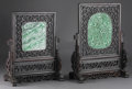 Asian:Chinese, PAIR OF CHINESE CARVED TABLESCREENS. Pair of Chinese carved tablescreens. Jade/hardstone plaques in carved openwork wood f... (Total: 2 )