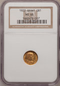 Commemorative Gold: , 1922 G$1 Grant No Star MS66 NGC. NGC Census: (250/86). PCGSPopulation (386/123). Mintage: 5,000. Numismedia Wsl. Price for...