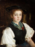 Fine Art - Painting, European:Antique  (Pre 1900), Attributed to ALBERT ANKER (Swiss, 1831-1910). Portrait of aGirl . Oil on canvas . 15-1/2 x 11-1/2 inches (39.4 x 29.2 ...