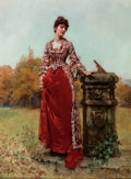 Paintings, HENRY JOHN YEEND KING (British, 1855-1924). At the Sundial . Oil on panel . 16-1/2 x 12 inches (41.9 x 30.5 cm). Signed ...