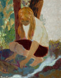 Fine Art - Painting, American:Contemporary   (1950 to present)  , BRUCE CURRIE (American, b. 1911). A Girl in the Forest. Oilon canvas . 26 x 20-1/4 inches (66.0 x 51.4 cm). Signed lowe...