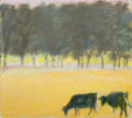 Fine Art - Painting, American:Contemporary   (1950 to present)  , WOLF KAHN (American, b. 1927). Landscape with Cows . Oil oncanvas . 18 x 20 inches (45.7 x 50.8 cm). Signed lower left:...