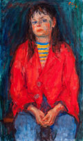 Fine Art - Painting, American:Contemporary   (1950 to present)  , ROBERT PHILIPP (American, 1895-1981). Girl in Red . Oil oncanvas . 24-1/2 x 14-1/2 inches (62.2 x 36.8 cm). Possibly mo...