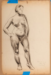CLYDE J. SINGER (American, 1908-1999) Five Figure Drawings Produced at the Art Students' League in New York und