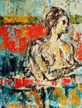 Fine Art - Painting, European:Contemporary   (1950 to present)  , LEHMANN (American, 20th Century). Female nude. Oil oncanvas. 17-1/2 x 13-1/2 inches (44.5 x 34.3 cm). Signed lowerleft...