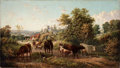 Fine Art - Painting, European:Antique  (Pre 1900), E. R. VAN HAMPE (Dutch active in England, 19th Century).Extensive Landscape near Hereford Cathedral and the RiverWye, ...