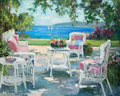 Fine Art - Painting, American:Contemporary   (1950 to present)  , ALLAYN STEVENS (American, 20th Century). A View From theTerrace. Oil on canvas . 49 x 60 inches (124.5 x 152.4 cm).Sig...
