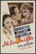 """Movie Posters:Comedy, It's Love I'm After (Warner Brothers, 1937). One Sheet (27"""" X 41"""").Comedy. ..."""
