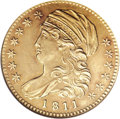 Early Half Eagles, 1811 $5 Small 5--Cleaned--ANACS. Unc Details, Net AU53....