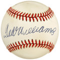 Autographs:Baseballs, Ted Williams Single Signed Baseball. Near flawless blue inksignature that we see here has been applied by the indomitable ...