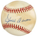 Autographs:Baseballs, Hank Aaron Single Signed Baseball. The Hall of Fame member thateclipsed Babe Ruth's home run record, Aaron signed this ONL...