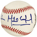 Autographs:Baseballs, Michael Crawford Single Signed Baseball. The English actor andsinger Michael Crawford penned a perfect example of his sign...
