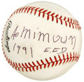 Autographs:Baseballs, Alain Mimoun Single Signed Baseball. Alain Mimoun, the greatestFrench, runner and winner of the Gold Medal in the marathon...