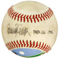 Autographs:Baseballs, Painted Baseball Signed by Artist Bob Cunningham. Artist BobCunningham adorned the ONL (Feeney) orb with his talent, paint...