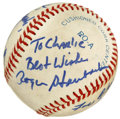 Autographs:Baseballs, Baseball Signed by Roger Staubach, Bud Selig, and Bob Uecker.Signed at a Chicago sports show in 1991, this OAL (Brown) bas...