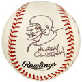 Autographs:Baseballs, Murray Olderman Cartoon Baseball Signed by Dinah Shore and DonMeredith. The acclaimed performer Dinah Shore and Dandy Don ...