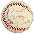 Autographs:Baseballs, Football Stars Multi-Signed Baseball. An assortment of footballstars have each checked in on the ONL (Coleman) baseball th...