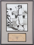 Autographs:Checks, 1940 Walter Johnson Signed Check....
