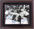 Autographs:Photos, 1990's Duke Snider, Pee Wee Reese & Mickey Mantle Signed Large Photograph....