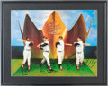 Autographs:Others, 1990's Triple Crown Winners Signed Poster with Handwritten Stats....