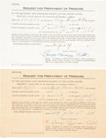 Baseball Collectibles:Others, 1923-38 Babe Ruth Insurance & Trust Fund Paperwork....