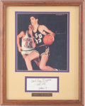 Basketball Collectibles:Photos, Pete and Press Maravich Signed Index Card Photo Display....