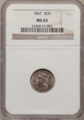 Three Cent Nickels: , 1867 3CN MS63 NGC. NGC Census: (90/203). PCGS Population (152/206).Mintage: 3,915,000. Numismedia Wsl. Price for problem f...