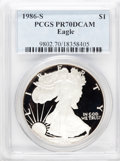 Modern Bullion Coins: , 1986-S $1 Silver Eagle PR70 Deep Cameo PCGS. PCGS Population (183).NGC Census: (980). Mintage: 1,446,778. Numismedia Wsl. ...